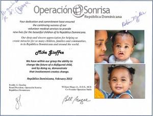 Operacion Sonrisa letter of appreciation